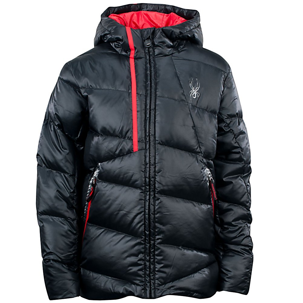 Ski Spyder Upside Down Boys Ski Jacket - Perfect for on the mountain and in the school yard the boys Spyder Upside-Down Jacket is built for ripping down the hill as it transitions perfectly to everyday wear. The quilted down insulation is lightweight and warm, and the weather-resistant exterior is great for clear winter days. The Upside-Down Jacket has a full stretch shell and lining for the ultimate comfort, mobility and style. With the POP banding elements strategically placed sets you apart from the ordinary adding complete coolness. The Boys Spyder Upside Jacket is surely going to keep you warm walking to the bus and riding on the hill. . Exterior Material: Downproof Polyester with Spylon with DWR, Insulation Weight: 550 Fill Power Down, Taped Seams: None, Waterproof Rating: N/A, Breathability Rating: N/A, Hood Type: Fixed, Pit Zip Venting: No, Pockets: 1-3, Powder Skirt: No, Hood: Yes, Warranty: Lifetime, Use: Ski, Battery Heated: No, Race: No, Type: Insulated, Cut: Regular, Length: Medium, Insulation Type: Down, Waterproof: Not Specified, Breathability: Not Specified, Cuff Type: None, Wrist Gaiter: No, Waterproof Zippers: Yes, Cinch Cord Bottom: No, Model Year: 2013, Product ID: 309867 - $129.95