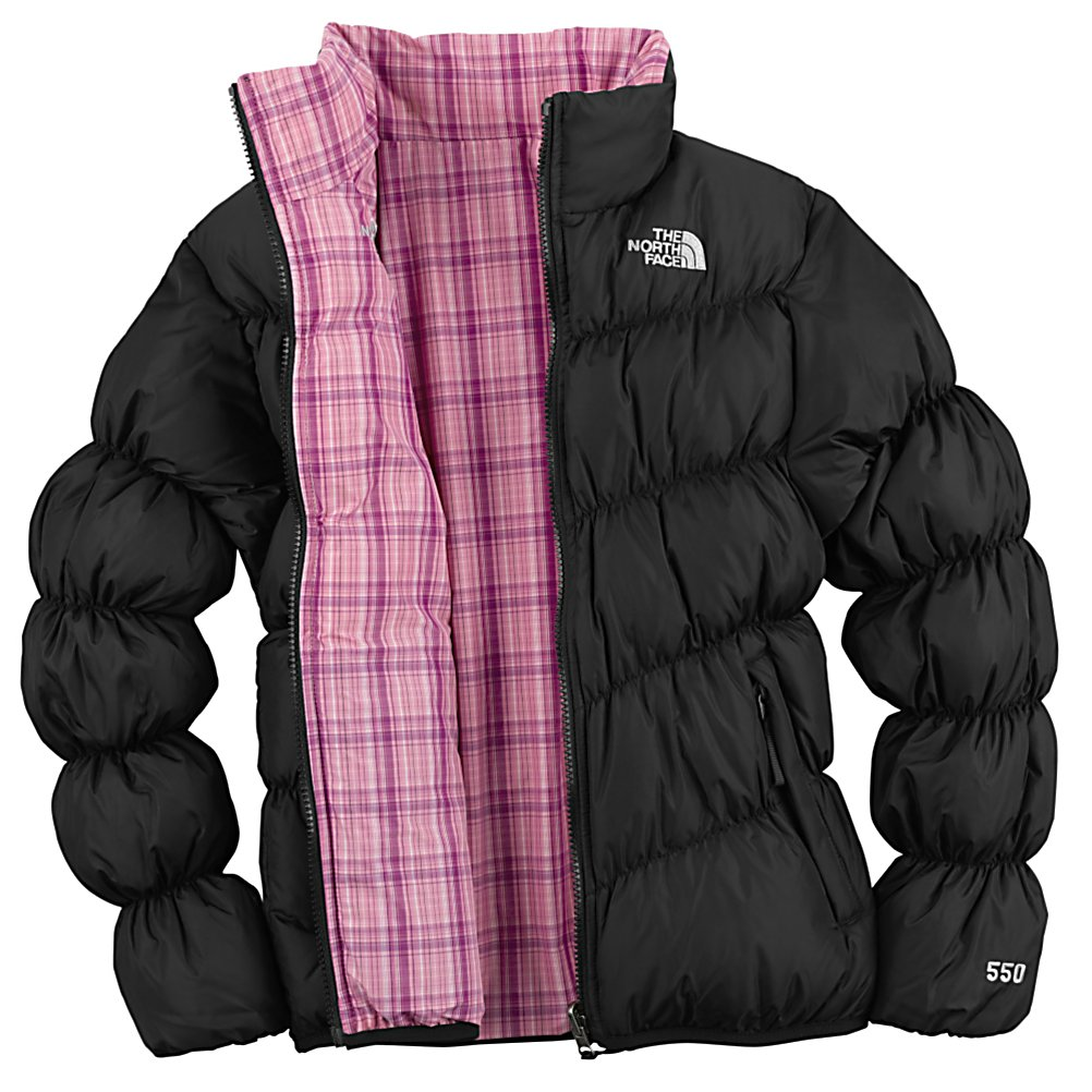 Ski The North Face Reversible Down MoonKitty Kids Jacket - The ID label has been attached to this Reversible Down MoonKitty Jacket for the child that is never quite sure where there jacket is when the it is time to go. This label makes locating easier if left on the bus, in the lodge, or in the lost and found. Less time looking, more time enjoying the great outdoors. The child specific elastic cuffs help to keep out any unwanted snow from reaching your skin, this allows the time outdoors to be positive, while staying dry. The highest quality of 550 goose down fill is used for this Reversible Down MoonKitty Jacket designed by North Face. The two important features for the goose down insulation is the weight ratio and compressibility, both are critical to the wearers comfort and warmth. This jacket offers you protection, performance and durability to meet the needs of active outdoor kids. Features: Welted hand pockets on plaid side, Elastic cuffs and hem, ID label, 550 fill down insulation. Model Year: 2010, Product ID: 170262, Shipping Restriction: This item is not available for shipment outside of the United States. - $69.93