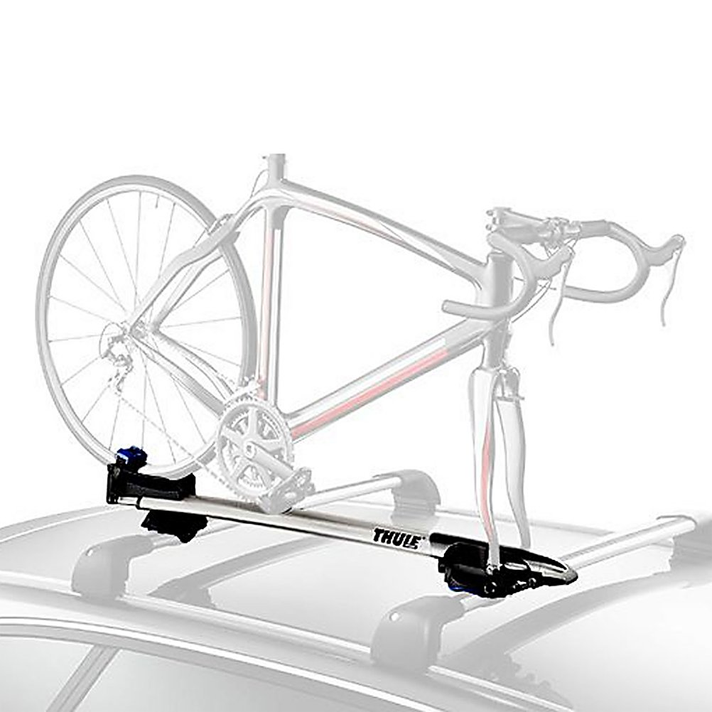 Fitness Thule Sprint Fork Mount Bike Rack - The Thule Sprint is a premium fork mount design that combines security, convenience and styling, making it the most complete fork mount carrier on the market today. The Sprint fits onto every single bar that is made today from factory bars to Yakima. Tool-free assembly makes life even easier and The Sprint has an aerodynamic front bullet that you twist once the fork is in the mount. When it reaches proper torque for the fork, it clicks like a gas cap, securing your bike and preventing you from over tightening. The Sprint has a telescoping D-shaped tray, allowing access into your truck for people with smaller vehicles and hatchbacks. While on the road, Road Dampening Technology (RDT) has been incorporated into the Sprint, by simply imbedding blue elastomer that help absorb road shock and vibration as you drive down dirt roads or any other highway. The Thule Sprint is going to make cycling that much more enjoyable for you. . Model Year: 2013, Product ID: 309393, Shipping Restriction: This item is not available for shipment outside of the United States. - $224.96