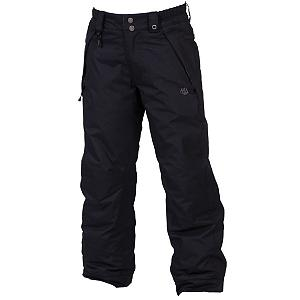 Snowboard One of the best ways to ensure your child has a good time on the mountain is to make sure that they stay warm.  With the 686 Mannual Brandy Snowboard Pants, they will stay warm and dry even as the temperatures reach chilly levels and the snows start to fall.  Made with infiDRY, they will be protected in winter conditions as a 5k waterproof level and critically taped seams keeps the moisture out.  With the Youth Evolution Extension System you can increase the length of the pants so they don't grow out of them after one season of use.  They'll have pockets to store the necessities and knee reinforcements to maintain durability as they play in the snow.  The 100% Nylon Taffeta is cozy to the touch too.  When your little girls wears these 686 Mannual Brandy Snowboard Pants, they will feel warm and comfy and they'll be happy to be spending more time on the mountain as oppose to being inside trying to warm up.  Knee Reinforcements,  Youth Revolution Extension System,  infiDRY-5,  Model Year: 2013, Product ID: 309450, Model Number: L2W802 BLK XS, GTIN: 0883510201583, How Does This Fit?: True To Size, Warmth Factor: Warmer, Pockets: 3-4, Waist: Elastic, Lining Material: 100% Nylon Taffeta, Pant Fit: Regular, Type: Insulated, Use: Snowboard, Breathability: Low Breathability (< 5,000g), Waterproof: Water Resistant (< 5,000mm), Race: No, Warranty: One Year, Articulated Knee: Yes, Gortex: No, Suspenders: None, Thigh Zip Venting: No, Full Zip Sides: No, Breathability Rating: 5,000g, Waterproof Rating: 5,000mm, Taped Seams: Critically Taped, Insulation Weight: 80 Grams, Softshell: No, Exterior Material: 100% Nylon Dobby - $39.77