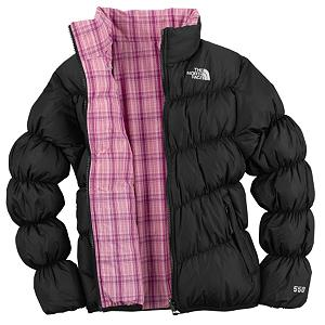 Snowboard The North Face Reversible Down MoonKitty Kids Jacket - The ID label has been attached to this Reversible Down MoonKitty Jacket for the child that is never quite sure where there jacket is when the it is time to go. This label makes locating easier if left on the bus, in the lodge, or in the lost and found. Less time looking, more time enjoying the great outdoors. The child specific elastic cuffs help to keep out any unwanted snow from reaching your skin, this allows the time outdoors to be positive, while staying dry. The highest quality of 550 goose down fill is used for this Reversible Down MoonKitty Jacket designed by North Face. The two important features for the goose down insulation is the weight ratio and compressibility, both are critical to the wearers comfort and warmth. This jacket offers you protection, performance and durability to meet the needs of active outdoor kids. Features: Welted hand pockets on plaid side, Elastic cuffs and hem, ID label, 550 fill down insulation. Model Year: 2010, Product ID: 170262, Shipping Restriction: This item is not available for shipment outside of the United States. - $69.93