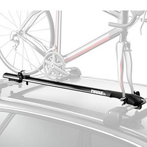 Kayak and Canoe Thule Circuit Bike Rack - The Thule Circuit is a low profile fork mount carrier with those looking for security, convenience and aerodynamic styling. The low profile design comes thanks too, Thule AeroHead low profile reinforced head and the Circuits low profile aluminum tray. Tool-free universal mounting makes assembly simple and stress free. Integrated wheel cradle provides protection and a perfect fit for your wheel. The Thule Circuit is surely going to make your spring rides better this year, with a aerodynamic design and convenient set-up go out and enjoy your ride. Features: Fits most factory supplied rack systems. Mount Type: Roof, Bike Capacity: 1, Fork Mount: Yes, Model Year: 2013, Product ID: 309394, Shipping Restriction: This item is not available for shipment outside of the United States. - $143.96
