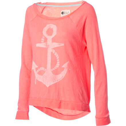 Surf Come sail away in the featherweight Billabong Women's Lost Again Shirt, with cool burnout wash and sea-loving anchor graphic. Its French terry fabric and casual pullover style combine for the breeziest top at the beach. - $39.45
