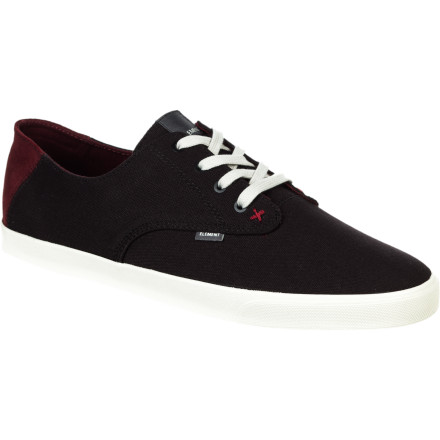 Skateboard After a solid day skating, kick off those sweaty skate shoes and slip into the Element Vernon Men's Shoe. It has a thin canvas upper and vulc construction for a low-profile look and feel that's sure to quickly become your go-to summer sneaker. - $49.46