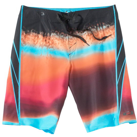 Surf Those dull, dingy board shorts of yours aren't helping you with your surfing or with the ladies. Step up your game in both departments with the Oakley Color Shock Men's Board Short. The O-Stretch fabric is super-stretchy for unrestricted movement, and it absorbs less water thanks to the HydroFree treatment so you don't have to worry about annoying clinging and bunching when you're popping up. It also has a colorful print that's eye-catching without being obnoxious, so you can be sure you have the ladies' attention when you paddle into a big one. - $90.00