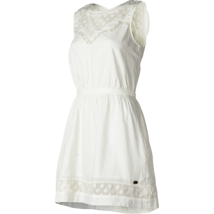 Entertainment Try as you will, but the all-cotton Quiksilver Women's Pomona Dress is irresistible with its vintage-inspired lace details, A-line silhouette, and sweet cut-out back. A fitted waist gives it great shape that flatters every figure, and pockets give it the cutest casual style. For the outdoor concert, lawn party, or long lazy lunch on the shore, this dress will delight. - $54.83