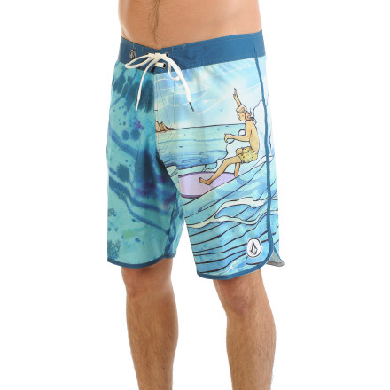 Surf Surf all day long in the comfort of the Volcom Harry Daily FA Men's Board Short. The four-way stretch fabric won't hold you back when you're getting barreled, and a DWR coating repels water so the short dries rapidly when you need to take a break on shore. It also has an above-the-knee cut and scalloped hems to give it a retro vibe that certainly won't hurt your chances with the babes on the beach. - $59.45