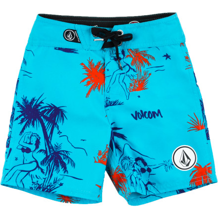 Surf Make sure your boy is ready for his first beach experience with the Volcom 45th St Toddler Boys' Board Short. The four-way stretch fabric is soft and flexible to keep him feeling comfy and free while he's splashing through tide pools and chasing down seagulls. - $36.95