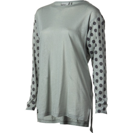 The WeSC Betsey Shirt features a comfy, lightweight cotton/linen blended fabric, polka-dot printed sleeves, side slits, and a high-low hem. - $69.95