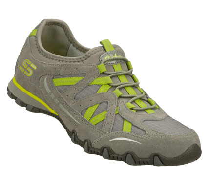 Fun sporty style plus casual comfort makes the SKECHERS Bikers - Equation shoe.  Soft suede and ripstop fabric upper in a bungee laced slip on sporty casual sneaker with stitching and overlay accents. - $55.00
