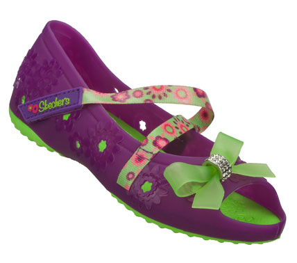 Easy wear; easy care and colorful fun glamour go into the SKECHERS Doodles shoe.  Soft flexible jelly-style plastic upper in a casual mary jane with adjustable strap and sculpted detail. - $27.00