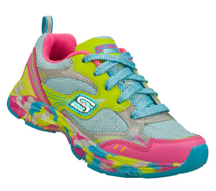 She'll show off with flying colors in the SKECHERS Sporty Shorty: Lite Diamond - Sporty Sparkle shoe.  Leather; synthetic and mesh fabric upper in a lace up athletic sporty sneaker with multicolor detail. - $43.00