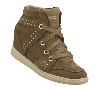 Entertainment Step up your style in a major way with the SKECHERS SKCH Plus 3 - Studly shoe.  Soft suede upper in a lace up casual hidden wedge high top sneaker with stitching; overlay and metal stud detail. - $70.00