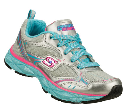 Fun athletic comfort and sparkly style is a girl's best friend in the SKECHERS Sporty Shorty: Lite Diamond shoe.  Smooth trubuck leather and metallic mesh fabric upper in a lace up athletic sporty training sneaker with stitching and overlay accents. - $44.00