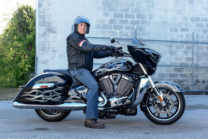 Auto and Cycle R. Lee Ermey getting ready for the Victory Owner Ride at Daytona Bike Week. 