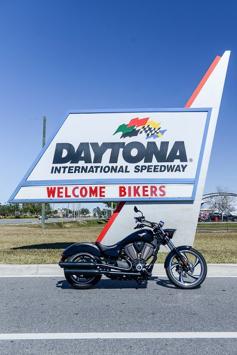 Auto and Cycle Vegas 8-Ball getting a Daytona Bike Week welcome at Daytona International Speedway. 