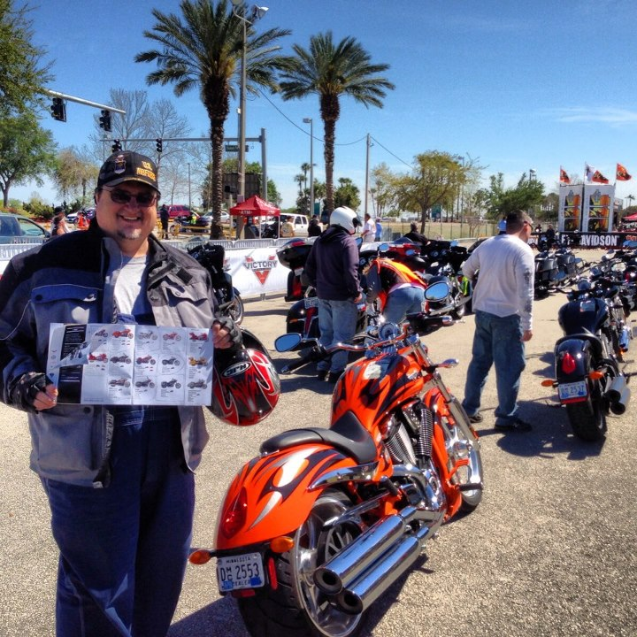 Auto and Cycle Rider Jeff N. has demoed every bike we have available this week at Daytona Bike Week. He checked them off as he went in our brochure. Strong work Jeff. 