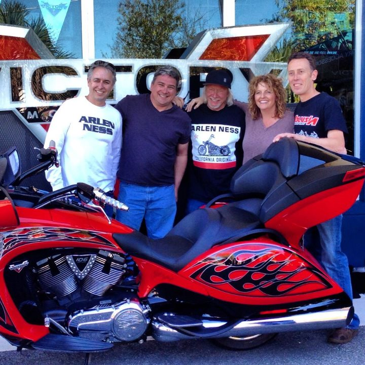 Auto and Cycle Two brand new members to the Victory family, Russ and Sydney, got a new Arlen Ness Vision today at Volusia Motorsports Victory Polaris KTM during Daytona Bike Week.