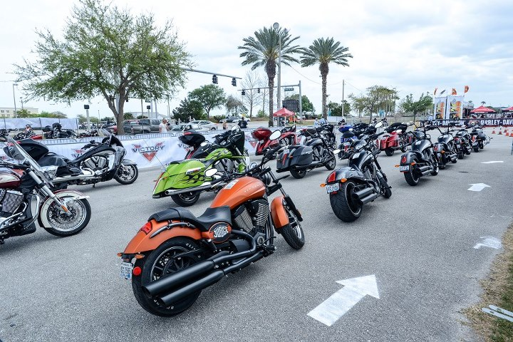 Auto and Cycle The Daytona Bike Week Victory Motorcycles demo setup is a thing of beauty. 