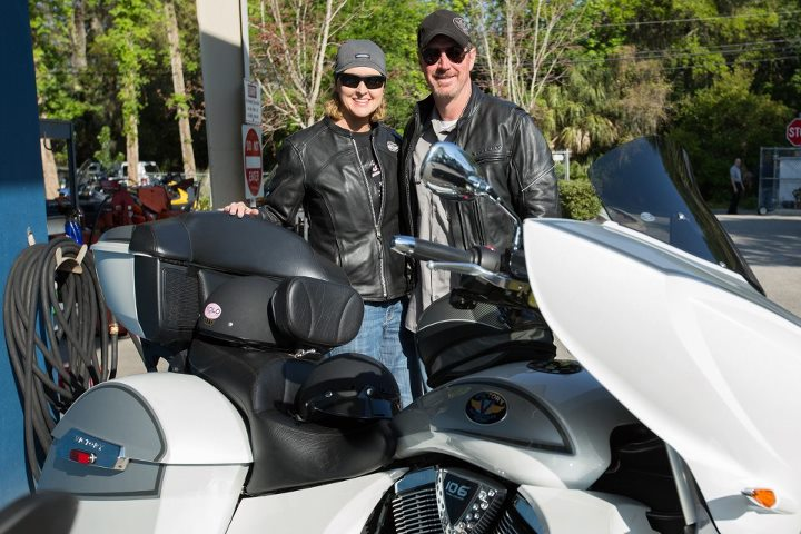Auto and Cycle Kelli Hall and Tim Whited rode from Alabama on their 2011 Cross Country, which Tim purchased it from Dothan Peak Powersports. Tim flew Apache helicopters in the U.S. Army for 28 years before retiring.
