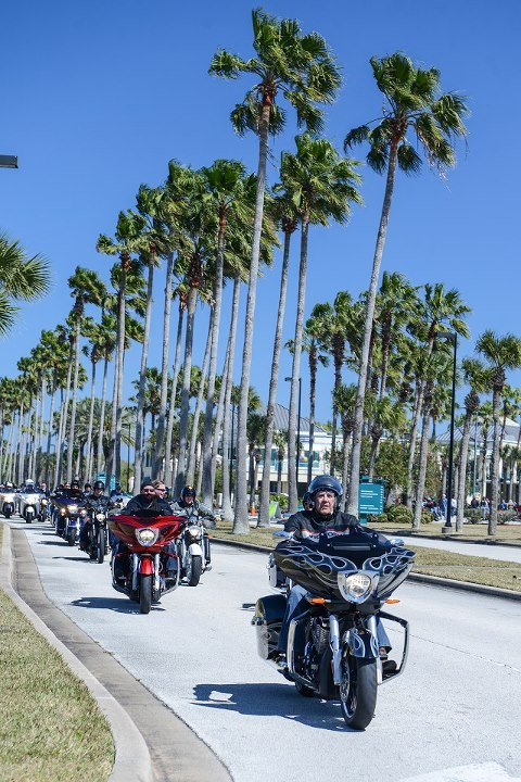 Auto and Cycle Victory bikes for as far as the eye could see.  Gunny leads Victory owners on the traditional Main Street invasion.