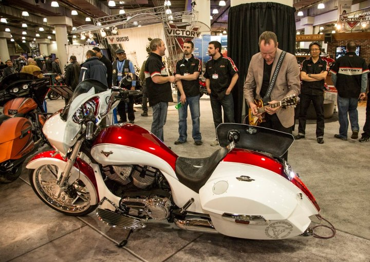 Auto and Cycle Michael Holt rocked the Victory Motorcycle booth.