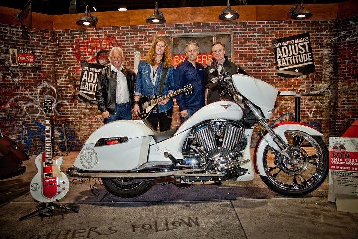 Auto and Cycle Arlen Ness, Jared James Nichols, Cory Ness and The Legendary Buffalo Chip's Rod Woodruff at the reveal of Cory's new custom bike.