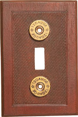 Hunting The ultimate finishing touch to any die-hard, hunting-themed room, these hand-cast resin electrical covers from Big Sky Carvers boast the same texture as shotgun-shell casings and are accented with unmistakable 12-ga.-shell rims. Available: Double-switch cover 5L x 5W. Duplex-receptacle cover 5L x 3.25W. Single-rocker cover 5L x 3.25W. Single-switch cover 5L x 3.25W. - $7.88