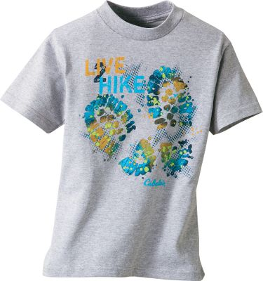 Camp and Hike Two muddy footprints in bright colors accent this fun boys' tee. 100% cotton. Imported. Sizes: XS-XL.Color: Gunmetal. - $6.88