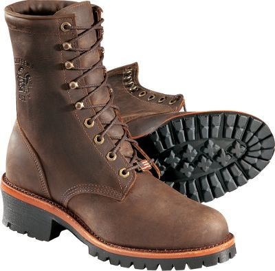 Plain-toe logger work boots crafted of durable and strong chocolate Apache leather that moves naturally with your feet. Goodyear leather welts add an extra measure of toughness. Drill vamp linings add softness to the leather interior, and 5 Iron Texon insoles add flexibility to every step. The Vibram outsoles are slip-resistant on all surfaces. Fiberglass shanks are supportive and long wearing. Boots are electrical-hazard protected. Handcrafted in USA using imported materials.Height: 8.Average weight: 4.4 lbs./pair.Mens sizes: 8-13 D width; 9-13 EE width. Half sizes to 12.Color: Chocolate Brown. - $44.88