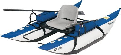 Fishing Get to the hotspots on your favorite fishing pond. The 8-ft. Roanoke Pontoon Boat has a rugged, molded-plastic seat for all-day outings at the lake. The seat folds down to simplify storage and transport. Heavy-duty cold- and heat-resistant bladders have quick inflation/deflation valves and are covered with abrasion-resistant PVC bottoms and nylon tops. Class 1 river rating. This pontoon has plenty of storage with zippered pockets on each armrest and a rear storage platform. Under-seat stripping apron with a fish ruler allows entry and exit without unclipping. Includes two 6-ft., two-piece aluminum oars and durable oarlocks. Powder-coated steel frame and length-adjustable footrests. Manufacturers one-year warranty. Assembled dimensions: 96L x 55W x 29H. Weight: 43 lbs. Weight capacity: 350 lbs. Color: Roanoke Pontoon Boat. - $299.99