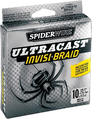 Fishing Stronger, Smoother, More Durable . . . Period. Spiderwire braided line is known for its unwillingness to break and its smooth casting. But when you need a line that has extremely low visibility and is still strong enough to take on trophy fish, the new Ultracast Invisi-Braid is the line for you. It has patented translucency for near invisibility and it has extremely high strength per diameter. Invisi-Braid outcasts and outlasts any other braid and it has a high pick-count for roundness and durability. Length: 125 yards. Color: Translucent. - $19.99