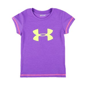 Fitness Get big time performance for your little one with this soft, super-breathable signature UA T-Shirt. Super-soft UA Tech(TM) fabrication delivers a baby-soft feel with UA performanceHeatGear(R) technology keeps her cool, dry, and comfortableLightweight, 4-way stretch construction moves when she doesSignature Moisture Transport System wicks away sweat to keep her dryTextured big logo front graphic Machine wash cold, tumble-dry lowPolyester/ElastaneImported - $17.99