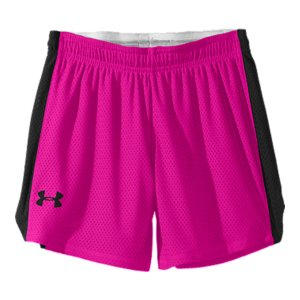 "Fitness These are the most perfect mesh shorts. Soft. Comfortable. Roomy, but still cute. And built with everything you'd expect from Under Armour(R). They're super-breathable, they dry quick, and they feel as great as they look. Match your favorite shirt back to those cool, colored side stripes, and you've got your new uniform. Super-soft open hole mesh construction feels great and delivers unbelievable breathabilitySuperior Moisture Transport System wicks away sweat to keep you drier, longerNotched leg and slightly graduated hem offer enhanced mobility and a seriously cute finishClassic elastic waistband with internal drawcord for a custom, comfort fitContrast side panels for a little athletic attitudeOversized logo at hem gives your competition a little warning of what's to come5"" inseam with longer rise to eliminate riding, bunching, or binding2.8 oz. PolyesterImported - $18.99"