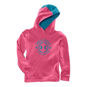 Fitness UA Storm technology repels water but stays soft & breathable for superior comfortUnique Charged Cotton(R) fleece is our softest, most comfortable fabric yetSoft, brushed interior traps heat to keep you warm without the bulkSignature Moisture Transport System wicks sweat to keep you dry and lightThree-piece hood with pop lining and matching mohawk middle panel stripeSlight crossover neck for a more feminine finishClassic front kangaroo pocketUA stamp emblem front graphicCotton/PolyesterImported - $21.99