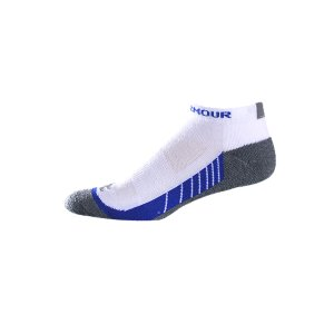 "Fitness Strategic cushioning for shock protection and comfort mile after mileSignature Moisture Transport System wicks away moisture and dries quickly, keeping your feet cooler and lighterArmourBlock(R) Anti-odor technology prevents the growth of odor-causing microbes, so your socks stay fresher, longerStrategic ventilation dumps hot air in zones where your foot does the most workContoured ""Y"" heel provides a comfortable fitPolyester/Spandex(R)Imported - $13.99"