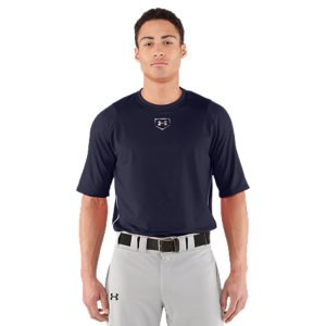 Sports Allover embossed lightweight fabric that layers easily under a uniform.  Stretch-mesh back panel provides strategic ventilation.  4-way stretch fabrication allows greater mobility and maintains shape.  Signature Moisture Transport System wicks sweat away from the body.  Quick-dry fabrication keeps you light and comfortable.  Anti-odor technology prevents the growth of odor causing microbes.  Raglan sleeve construction and flatlock stitching allow a full range of motion without chafing.  Extra length to stay tucked in.  Polyester/Elastane.  Imported. - $26.24