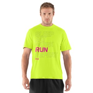 Fitness Our UA Run graphic T-shirts are built from soft, light UA Tech(TM) materials so you'll stay cool and dry. Lightweight UA Tech(TM) fabric with an ultra-soft, natural feel for unrivaled comfortSignature Moisture Transport System wicks sweat away from the bodyAnti-Odor technology prevents the growth of odor causing microbesSmooth Flatlock Seams allow chafe-free motionPolyesterImported - $24.99