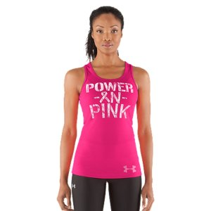 Fitness UA Power In Pink(TM) celebrates the women who use sports, fitness, and an active lifestyle in their fight against breast cancer. Join the fight alongside these ladies by gearing up and going out in these great pieces from our UA Power In Pink(TM) collection. Part of our UA Power In Pink(TM) CollectionUnder Armour(R) will donate a minimum of $500,000 to various breast cancer centers & charities through our UA Power In Pink(TM) programSoft, lightweight fabric for the superior next-to-skin comfortClassic rib construction improves mobility and accelerates dry timeSporty racer back with mesh insets that dump heat for extra breathabilityDistressed POWER IN PINK ribbon front graphicPolyester/ElastaneImported - $27.99