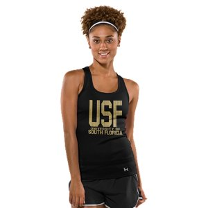 Fitness Classic campus style meets UA innovation in this suped up South Florida performance tank, built to take you from ticket lines to the sidelines, and out celebrating after. Super-soft poly fabric for superior next-to-skin comfortClassic 2x2 stretch rib construction improves mobility and maintains shapeSignature Moisture Transport System wicks sweat to keep you cool, dry, and lightLightweight stretch construction improves mobility for full range of motionFeminine racer back design with super-breathable performance mesh panelsSOUTH FLORIDA front and back graphicsPolyesterImported - $27.99
