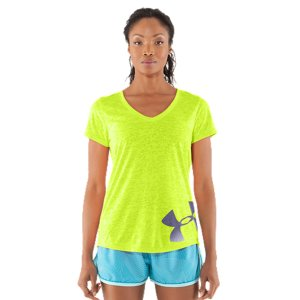 Fitness We paired your favorite T-shirt with your favorite graphic to create one giant super-power of performance. The perfect balance of soft and serious, you get the semi-sheer femininity of a burnout and the bold and brazen impact of our UA big logo. Soft & super lightweight poly fabric keeps you comfortable in & out of the gymLightweight, 4-way stretch fabrication improves range of motion & dries fasterSignature Moisture Transport System wicks sweat to keep you cool, dry & lightUnique burnout pattern is semi-sheer for extra breathability & a hit of styleDeep V-neck collar delivers a sleeker, more feminine silhouetteOffset gradient big logo on front hem 3.89 oz. Polyester/RayonImported - $21.99