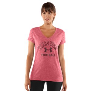 Fitness We took the laidback look of vintage college gear and suped it up with some UA innovation to take on everything from pre-game tailgates to post-game celebrations. Soft, sweat-wicking fabrics, comfortable stretch construction, and cute, feminine silhouettes. You've just graduated to the next level of Texas Tech Red Raiders fan gear. Unique tri-blend fabric has a soft, athletic feel for superior comfort and performanceVintage finish for a classic varsity lookSignature Moisture Transport System wicks sweat to keep you cool, dry, and lightAnti-microbial technology eliminates odors to keep your gear fresher, longerLightweight stretch construction improves mobility for full range of motionDeep V-neck collar & slimmer fitted fit deliver a sleeker, more feminine silhouettePolyester/Cotton/RayonImported - $29.99