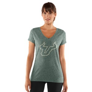 Fitness We took the laidback look of vintage college gear and suped it up with some UA innovation to take on everything from pre-game tailgates to post-game celebrations. Soft, sweat-wicking fabrics, comfortable stretch construction, and cute, feminine silhouettes. You've just graduated to the next level of South Florida fan gear. Unique tri-blend fabric has a soft, athletic feel for superior comfort and performanceVintage finish for a classic varsity lookSignature Moisture Transport System wicks sweat to keep you cool, dry, and lightAnti-microbial technology eliminates odors to keep your gear fresher, longerLightweight stretch construction improves mobility for full range of motionDeep V-neck collar & slimmer fitted fit deliver a sleeker, more feminine silhouettePolyester/Cotton/RayonImported - $29.99