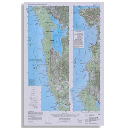 Topographic map shows trails, beach routes and headland tides from La Push north to Cape Flattery - $5.58