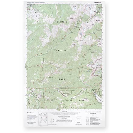 This topographic trail map to the Enchanted and Skokomish Valleys of Olympic National Park is a highly detailed reference for route finding. - $5.58