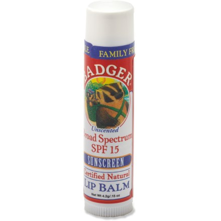 Camp and Hike The all-natural, moisturizing Badger SPF 15 lip balm stick protects lips from UVA and UVB rays. - $3.50