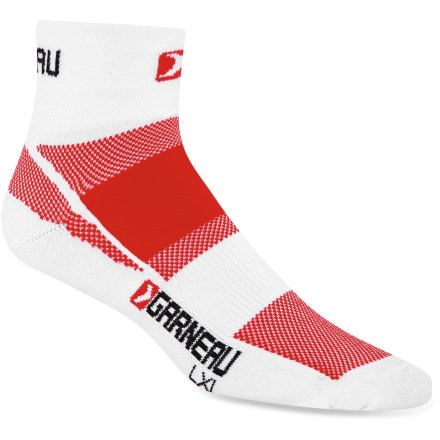 Fitness These Louis Garneau Venti CFS performance bike socks keep your feet cool and dry so you can focus on training. CoolMax(R) polyester fabric blend wicks away moisture, dries quickly and breathes well. Nylon adds durability and spandex offers stretch and shape retention. Mesh knit construction at upper and under foot aids in ventilation to prevent feet from overheating. Closeout. - $5.73
