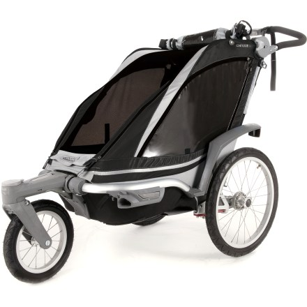 Fitness The versatile Chariot Chinook 1 stroller is great for everyday explorers and adventurers, offering a comfy ride and a convertible design that can go from city parks to National parks and beyond. Conversion kits let you conveniently configure the Chinook 1 to fit your adventurous family activities, whether hiking, cycling or cross-country skiing (kits not included). Front wheel can pivot freely for greater mobility or be locked for predictable tracking; front wheel can also be easily folded away when it's not needed. Main compartment for 1 child features an easy-to-secure, padded 5-point seatbelt system with fleece-covered shoulder straps and hidden buckles. The padded and adjustable reclining seat offers premium comfort for children. Chassis suspension can be adjusted without tools to supply the smoothest ride and maximize comfort based on passenger weight. Sturdy aluminum frame balances safety and interior space to offer plenty of security and comfort; integrated helmet space ensures passenger comfort, even with a helmet on. ezFold(TM) design makes it simple and fast to fold up and unfold the Chinook 1, plus the system ensures the open carrier is locked into position. Lightweight 20 in. wheels are easy to remove with a push of a button, making it easier to transport and store the Chinook 1. Sizeable rear storage compartment lets you carry more stuff for long trips. Large, tinted windows enhance UV protection while allowing easy viewing; venting options make it easy to adjust airflow for passenger comfort. Abundant 3M Scotchlite(TM) reflective material and glow-in-the-dark Energlo(TM) photo-luminescent fabric enhance visibility in low light. Convenient weather cover and sun shade offer adaptable protection from changing conditions. Total weight capacity including passengers and gear is 75 lbs. - $711.93