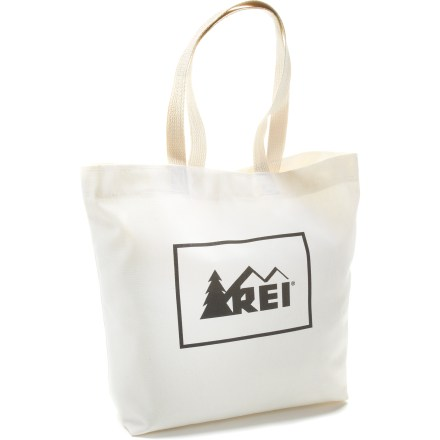 Entertainment Durable and roomy, the REI Reusable Tote bag is ideal for shopping, errands, days at the beach and picnics. - $1.93