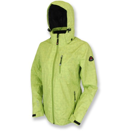 Fitness Stay dry on the slopes or in a sudden rain shower with the Killtec Smilla Checker Dots rain jacket. Waterproof, windproof protection from the elements makes any day perfect for outdoor adventure. 2-layer waterproof, breathable laminate blocks rain and wind but allows body heat to escape, keeping you comfortable even if you start to sweat. Polyester taffeta lining with mesh panels feels soft against skin, enhances breathability and wicks moisture away from skin. Front zipper features a draft flap and zipper guard to prevent chafing and irritation. Zippered hand pockets, chest pocket and interior pocket offer plenty of storage. Tricot-lined collar adds a touch of softenss; adjustable, removable hood offers complete coverage. Killtec Smilla Checker Dots rain jacket features a hem drawcord and adjustable rip-and-stick cuffs to seal in warmth. - $59.83